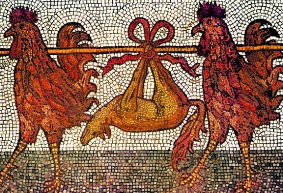 Coda da scoiattolo nei galli di San Marco a Venezia - Funerale della volpe mosaico del 11 sec