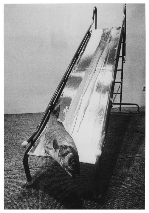 aldo-mondino-nomade-a-milano-fondazione-mudima-aldo-mondino-scivolo-1968-pesce-sangue-scivolo-in-metallo-piano-argentato